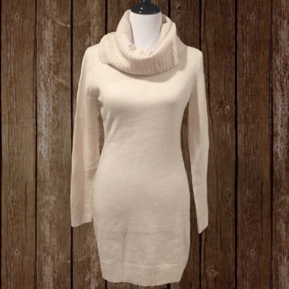 64d2963c013 NEW H M Cream Cowl Neck Sweater Dress